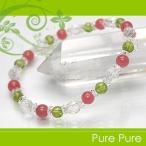 インカローズ (ロードクロサイト) ペリドット 水晶ミラーカット 水晶カットボタン ブレスレット 天然石 パワーストーン ブレスレット ブレス