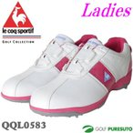レディース ルコックゴルフ ゴルフシューズ QQL0583 ホワイト ピンク ヒールダイヤル式 WLS 即納