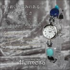 Antique Watches - 時計 ジュエリーウォッチ ラピスラズリ ターコイズ アマゾナイト アイオライト ブラックルチルクォーツ オニキス WB0025 Hermosa プレゼントに