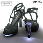 シャネル CHANEL ココマーク レースアップ サンダル LED ライト付き キャンバス ブラック 36 1/2 23.5cm