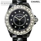 シャネル CHANEL J12 H2428 メンズ 腕時計 ラージ ダイヤ デイト セラミック ブラック 黒 クォーツ ウォッチ