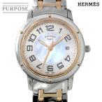 エルメス HERMES クリッパーナクレ CP1 321 新型 レディース 腕時計 コンビ PG ピンクゴールド ホワイトシェル デイト ウォッチ