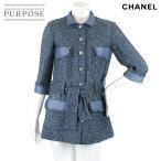 シャネル CHANEL コート アウター ツイード ベルト付き 五分袖 CC ブルー サイズ 36 P43 ランダム レディース