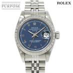 ロレックス ROLEX オイスターパーペチュアル デイト 69240 W番 レディース 腕時計 ブルー 文字盤 オートマ  自動巻き ウォッチ