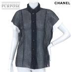 シャネル CHANEL ブラウス シャツ 半袖 チェック トップス ココ CC ネイビー サイズ 42 P52 ランダム レディース