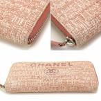 シャネル CHANEL ドーヴィル ジップウォレット ラウンドファスナー 長財布 ツイード ピンク A81977
