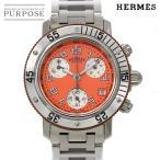 エルメス HERMES クリッパー ダイバー クロノグラフ CL2 316 レディース 腕時計 デイト オレンジ 文字盤 クォーツ ウォッチ