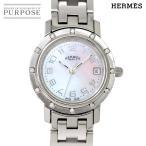 エルメス HERMES クリッパー ナクレ CL4 230 ダイヤベゼル レディース 腕時計 デイト ホワイトシェル 文字盤 クォーツ ウォッチ