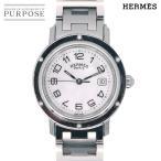 エルメス HERMES クリッパーナクレ CL6 410 ボーイズ 腕時計 デイト ホワイトシェル 文字盤 クォーツ ウォッチ