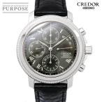 セイコー SEIKO クレドール メカニカル クロノ GZBH999 手巻き 6S74-0020 メンズ 腕時計 ブラック 文字盤  K18WG ホワイトゴールド パワーリザーブ スケルトン