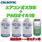 エアコンガス R134A CL 交換セット 軽自動車〜一般セダン用 日本製 P444 ( 134aガス200g缶 3本+PAGコンプレッサーオイル10cc 1本 P-444 ) クーラーガス