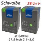 Schwalbe シュワルベ 2本セット チューブ 27.5インチ 米式バルブ 40mm MTB 自転車