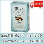 送料無料 筑波乳業 濃いアーモンドミルク1000ml (まろやかプレーン・砂糖不使用)×6本