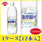 サンガリア 伊賀の天然水 強炭酸水 レモン 1000ml 1L×12本 PET ペットボトル スパークリング