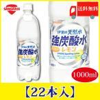 サンガリア 伊賀の天然水 強炭酸水 レモン 1000ml 1L×22本 送料無料 PET ペットボトル スパークリング