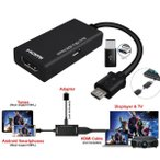 携帯電話タブレットテレビのためのHDMIメスアダプタケーブルにタイプC&マイクロUSBオス