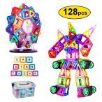 【全国送料無料】FlyCreat マグネットブロック 128ピース 磁気おもちゃ 子供 女の子 男の子 マグネットおもちゃ 磁石ブロック 収納ケース付き【国内発送】