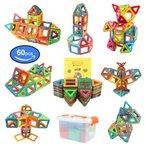 【全国送料無料】FlyCreat マグネットブロック 60ピース 磁気おもちゃ 子供 女の子 男の子 マグネットおもちゃ 磁石ブロック 収納ケース付き【国内発送】