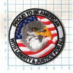 「US AIRFORCE イーグル×アメリカ国旗 PROUD TO BE AMERICANロゴ  円形・丸型 マーク【ミリタリーワッペン 刺繍 アイロンワッペン】」の画像