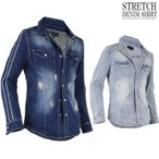 デニムシャツ ストレッチ メンズ ウエスタンシャツ ダンガリーシャツ 袖ライン パイピング V02012902