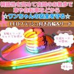 LEDライトフラッシュ付き光る首輪&リードセット 【オレンジ・犬用】 夜間を安全にお散歩