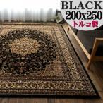 Yahoo!ラグマット通販のサヤンサヤンラグ 絨毯 ブラック 黒 直輸入!トルコ製のお得な 絨毯 3畳 大 じゅうたん 200×250cm 送料無料 ウィルトン織り ラグマット