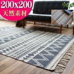 ラグ 2畳 カーペット 200×200 正方形 洗える オルテガ 西海岸 じゅうたん 絨毯 ラグマット おしゃれ 手織り