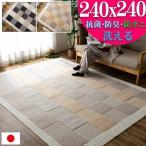ラグ 約 4.5畳 洗える 抗菌 防ダニ 防臭 カーペット リビング 日本製 無地 240x240 ラグマット 正方形