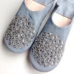 【メール便可】モロッコ スパンコール ビーズ バブーシュ グレー室内履き スリッパ ルームシューズ 靴 モロッコ雑貨 女性 手作り 刺繍 母の日 引越し お祝い