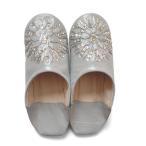 モロッコ スパンコール 刺繍 ビーズ バブーシュ グレー シルバー 室内履き スリッパ ルームシューズ 靴 モロッコ雑貨 女性 手作り 刺繍 母の