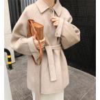 コート レディース ラシャ ステンカラーコート ウールコート 洋服 ショート丈 アウター オーバーコート 冬