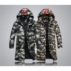 ダウンジャケット 迷彩 ロング ダウンコート フード付き ベンチコート メンズ ショートブルゾン コート アウター