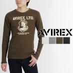 AVIREX アビレックス ロングスリーブ リブ プリント クルーネック Tシャツ 6163485 長袖 アヴィレックス tシャツ ミリタリー メール便