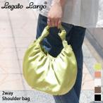 ショルダーバッグ  Legato Largo レガートラルゴ サテン風 ギャザー 2way レディース トートバッグ ハンドバッグ 斜めがけ ミニ ポイント消化