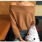 オフショルダー レディース カットソー Tシャツ 長袖七分 袖 肩だし ワンサイズサイズ ゆったり トップス ファッション カジュアル おしゃれ ブラ