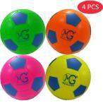Macro Giant発泡ソフトカラフルなサッカーボール,15cm (直径),4個入り,蛍光色,初心者,親子インタラクション