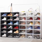Sneaker Box タワーボックス TOWER BOX シューズ ボックス 横開き 靴箱 ブラック、クリアケース 1個