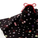エコクロス-風呂敷 ふろしき ×巾着セット- 鈴と桜 風呂敷二巾(70cm幅) 巾着 20×15cm 手拭い 母の日 父の日 プレゼントの画像