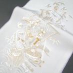 刺繍半衿(半襟)・白/金  松竹梅に宝船文 結婚式 成人式 卒業式 留袖用 刺繍半襟