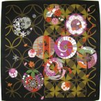 綿小風呂敷 ふろしき 七宝と四季 黒 中巾(50cm幅) エコバッグ 手拭い 母の日 父の日 プレゼント