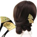 バチ型簪(かんざし)月に竹と桜  髪飾り 結婚式 和装 着物 ヘアアクセサリー 黒留袖 フォーマル 浴衣