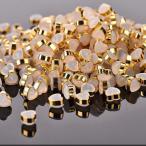シリコンキャッチ ハート形 クリア×ゴールド 約6.5x6mm 10個
