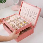 ジュエリーケース メイクボックス アクセサリーケース 大容量 持ち運び ジュエリー収納 2段 ネックレス ピアス 指輪 宝石箱 小物収納ボックス