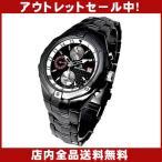 アウトレット 腕時計 メンズ クロノグラフ ウォッチ スワロフスキー ガンメタル ブラックカラー アウトレット