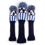 ニット ゴルフヘッドカバー 手編み 可愛数字ペンダント付け 1#3#5#用 キラキラ星 レッド/ブルー