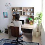 ショッピングパソコンデスク デスク パソコンデスク ワークデスク 机 平机 学習机 書斎デスク オフィスデスク PCデスク 幅115 机上本棚付き オーク