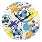 Akiraki 壁掛け時計 掛け時計 置き時計 サイレント 木製 連続秒針 時計 インテリア 北欧 サッカー スポーツ 白 ホ?
