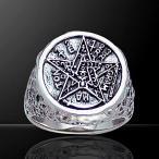 PETER STONE ソロモン王の鍵 ペンタグラム(五芒星) スターリングシルバー リング(指輪)|魔術書|シールオブソロモン|四大元素魔よけ|護符|タリズマン
