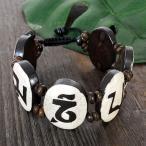 チベット ヤクの骨 マントラ オム(OM) ブレスレット 手首周り調整可能|法具|風水モチーフ|チベット密教|彫刻|手彫り|ブレスレット メール便対応可