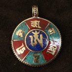チベット 観音菩薩の六字真言オーム 金銭細工 お守り ペンダントトップ|パワーストーン|チベットシルバー|チベット密教 メール便対応可